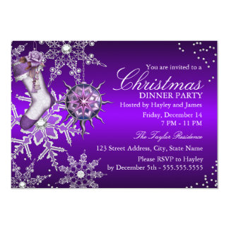 "Purple Crystal Snowflake Christmas Dinner Party 2 5"" X 7"" Invitation Card"
