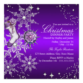 "Purple Crystal Snowflake Christmas Dinner Party 3 5.25"" Square Invitation Card"