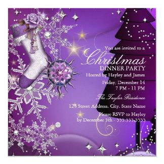Purple Crystal Snowflake Christmas Dinner Party 4 13 Cm X 13 Cm Square Invitation Card