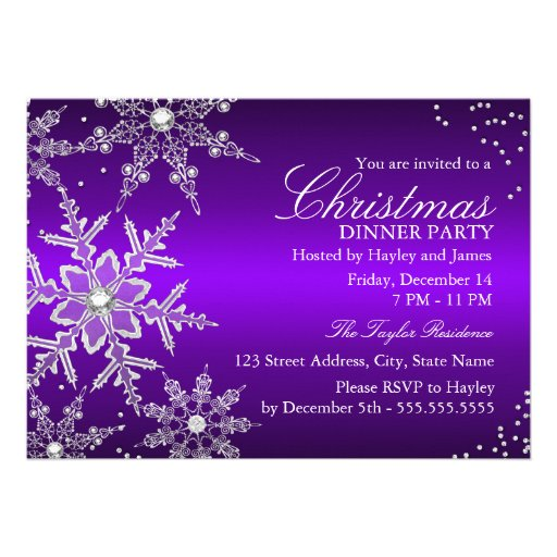 Purple Crystal Snowflake Christmas Dinner Party Announcements