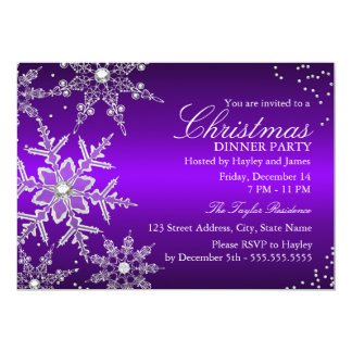 "Purple Crystal Snowflake Christmas Dinner Party 5"" X 7"" Invitation Card"