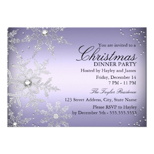 Purple Crystal Snowflake Christmas Dinner Party Personalized Invitations