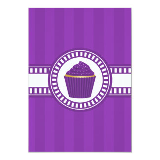 Purple Cupcake with White Sprinkles Personalized Invitations