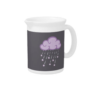 Purple Curls Rain Cloud With Falling Stars Pitcher