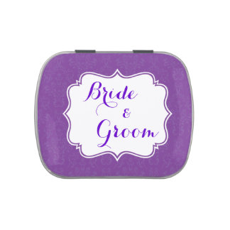 Purple Custom Damask Wedding Party Favor Jelly Belly Candy Tin