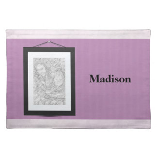 Purple Custom photo and name placemat