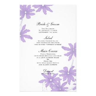 Purple Daisies Wedding Menu