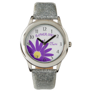 Purple Daisy Flower Girl Wrist Watch
