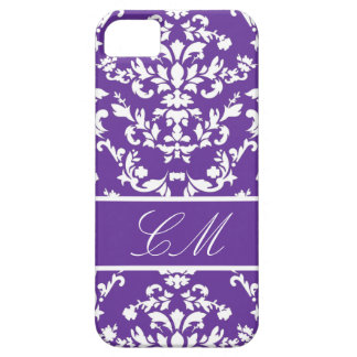 Purple Damask #3 @ Vintage Marie with Monogram Case For The iPhone 5