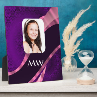 Purple damask and personalized photo plaque