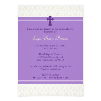 Purple Damask Baptism/Christening Invitation