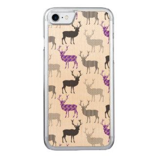 Purple Damask Christmas Deer Stag Pattern Carved iPhone 8/7 Case