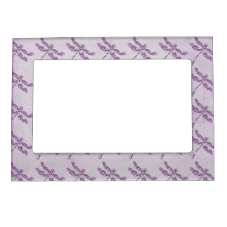 Purple Damask Dragonfly Wedding Frame Magnet