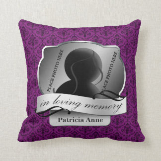 "Purple Damask ""In Loving Memory"" In Memoriam Cushion"