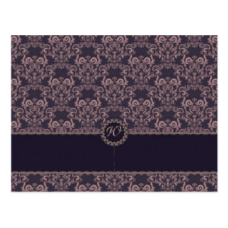 Purple Damask Lace Wedding Place Card Postcard