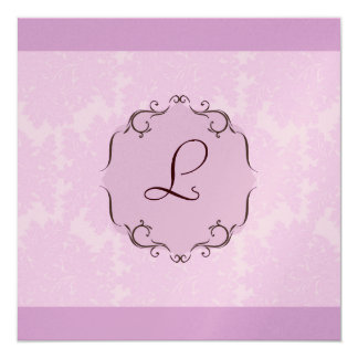 Purple Damask Monogram Invitation in Metallic