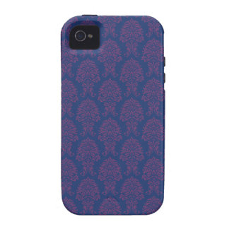 Purple Damask Pattern iPhone 4/4S Cases