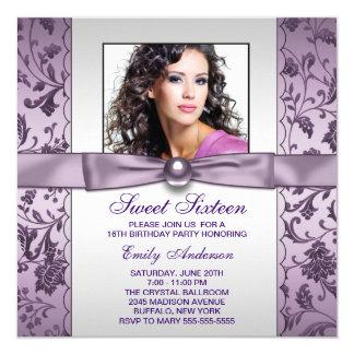 Purple Damask Photo Sweet Sixteen Birthday Party 13 Cm X 13 Cm Square Invitation Card