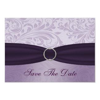 purple damask Save the date Invitations