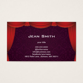 Purple Damask with Red Curtain Profile Card