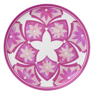 Purple Decorative Floral Tiles Plate