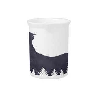 Purple Deer Silhouette With Trees and Clouds Adjus Pitcher