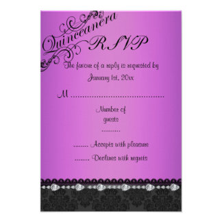 Purple Diamond & Damask Quinceanera RSVP Card Personalized Announcement