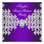 Purple Diamonds Purple Sweet Sixteen Birthday 13 Cm X 13 Cm Square Invitation Card