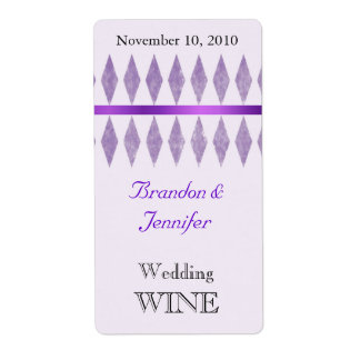 Purple Diamonds Wedding Mini Wine Labels