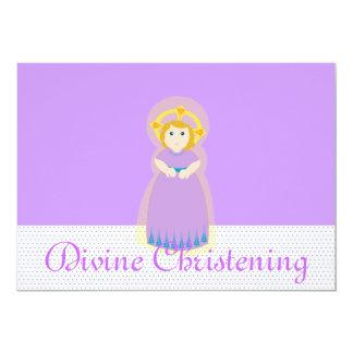 Purple Divine Christening Invitation-Customize Card
