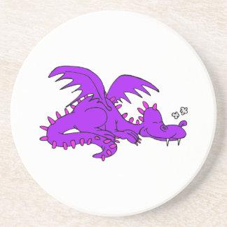 Purple Dragon Sleeping.png Drink Coasters
