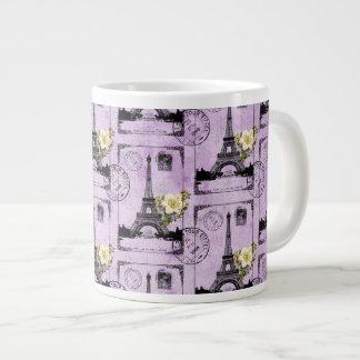 Purple Eiffel Tower Post Card Stamps Large Coffee Mug