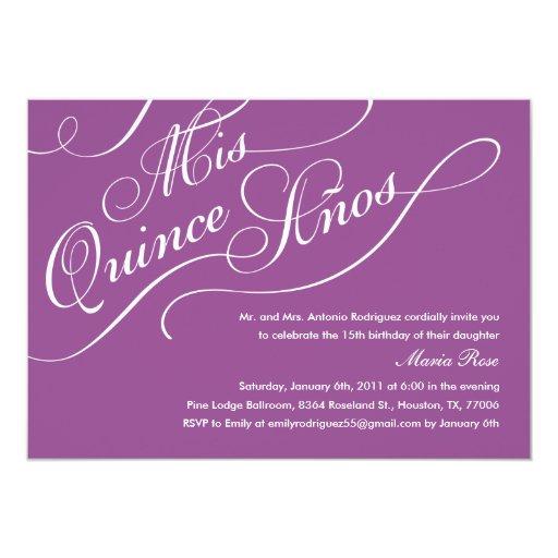 Purple Elegant Quinceanera Invitations