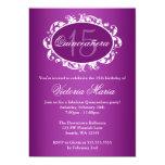 Purple Elegant Swirl Quinceanera Birthday Party 13 Cm X 18 Cm Invitation Card