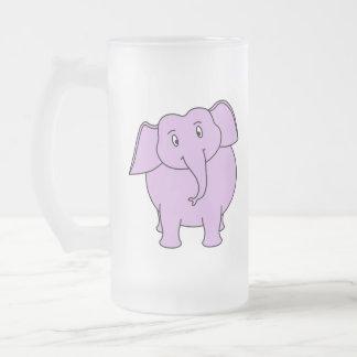 Purple Elephant. Cartoon Frosted Glass Mug