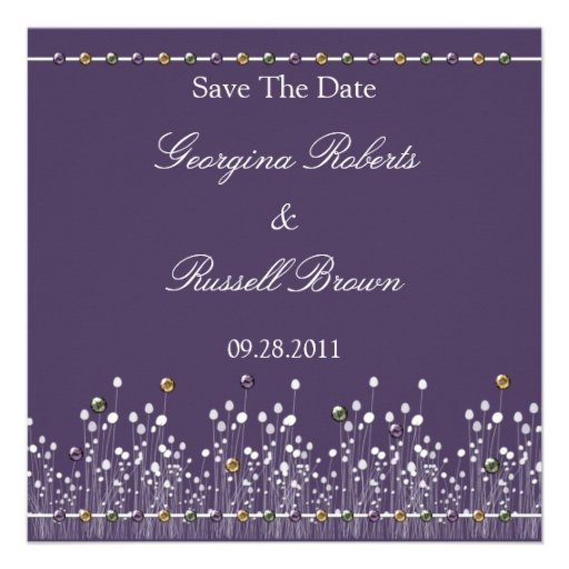Purple Embellished Save The Date Custom Announcements