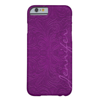 Purple Embossed Floral Design Suede Leather Look 2 Barely There iPhone 6 Case