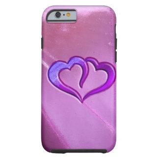 Purple Engraved Hearts Tough iPhone 6 Case