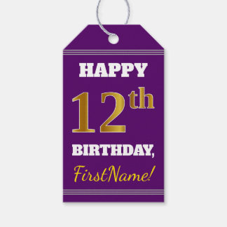 Purple, Faux Gold 12th Birthday + Custom Name Gift Tags