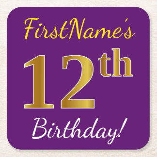 Purple, Faux Gold 12th Birthday + Custom Name Square Paper Coaster