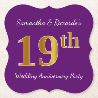 Purple, Faux Gold 19th Wedding Anniversary Party Paper Coaster