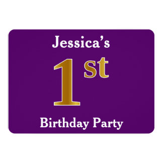 Purple, Faux Gold 1st Birthday Party + Custom Name Card