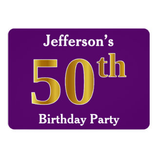 Purple, Faux Gold 50th Birthday Party; Custom Name Card
