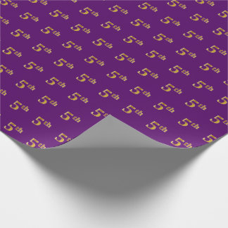Purple, Faux Gold 5th (Fifth) Event Wrapping Paper