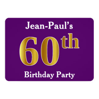 Purple, Faux Gold 60th Birthday Party; Custom Name Card