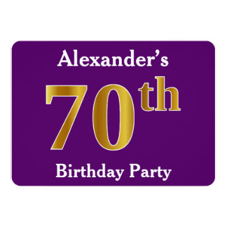 Purple, Faux Gold 70th Birthday Party; Custom Name Card