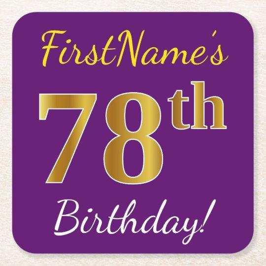 Purple, Faux Gold 78th Birthday + Custom Name Square Paper Coaster
