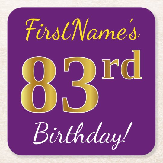 Purple, Faux Gold 83rd Birthday + Custom Name Square Paper Coaster