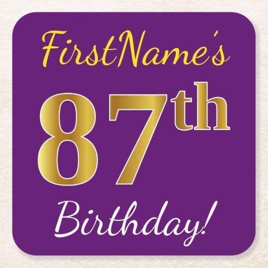 Purple, Faux Gold 87th Birthday + Custom Name Square Paper Coaster