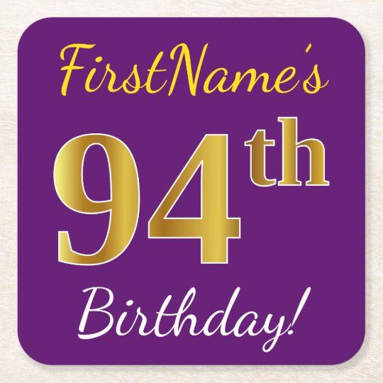 Purple, Faux Gold 94th Birthday + Custom Name Square Paper Coaster